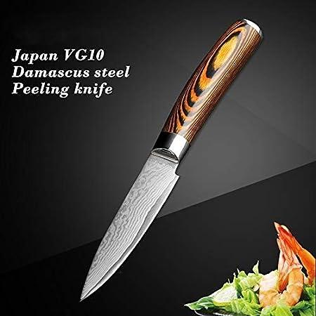 """Nuevo cuchillo de cocina pulgadas de pelado de la cocina japonesa cuchillo afilado acero de Damasco del cuchillo del cocinero de Santoku Peeling rebanar frutas regalo herramienta de utilidad 3.5"""" afil"""