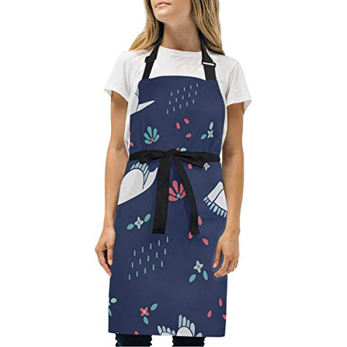 HJudge Womens Aprons Swans Kitchen Bib Aprons with Pockets Adjustable Buckle on Neck (Bella Swan Jacket)