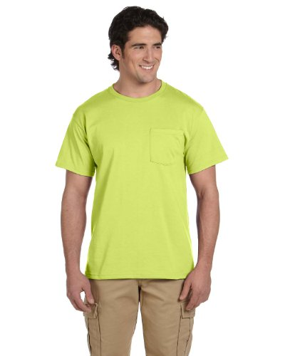 Jerzees Men's Heavyweight Chest Pocket T-Shirt, X-Large, Safety Green