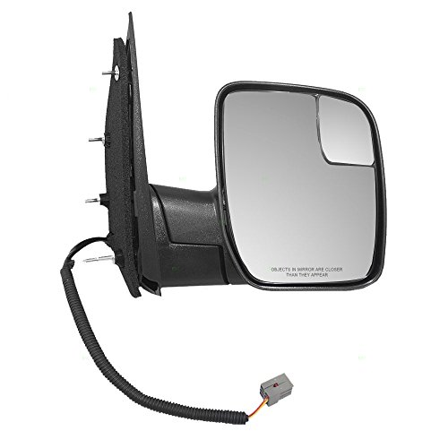 (Passengers Power Side View Mirror with Spotter Glass Sail Type Replacement for Ford Van AC2Z 17682)