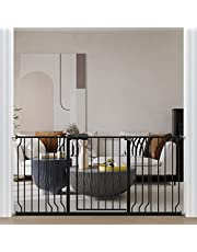 """ALLAIBB Extra Wide Pressure Mount Baby Gate Auto Close Black Metal Child Dog Pet Safety Gates with Walk Through for Stairs,Doorways,Kitchen and Living Room 24.02-76.38 in (66.93-71.65""""/170-182cm)"""