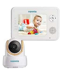"Nannio Comfy 3.5"" Video Baby Monitor with Enhanced Super Night Vision Camera, Long Transmission Range, Two-Way Talk, 3 Lullabies, Long Battery Life, Secure, Australia Plug"