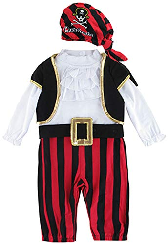 COSLAND Infant Baby Boys Halloween Costume Pirate Rompers Long Sleeve (Pirate 1, 6-9 Months)]()