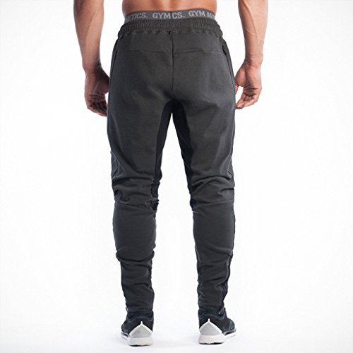 Ouber Men's Fitted Jogger Pants Gym Workout Running Sweatpants With Zipper Bottom
