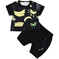 Baby Boys Banana Printed T-Shirt + Zipper Shorts Short Sleevele Summer Set