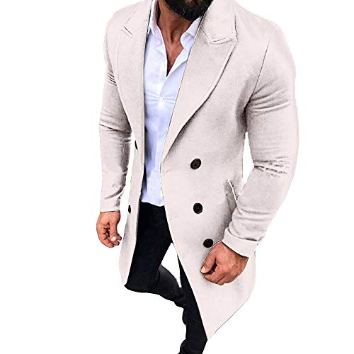 New Winter Men Slim Stylish Trench Coat Double Breasted Long Jacket Parka (L, Z-White)
