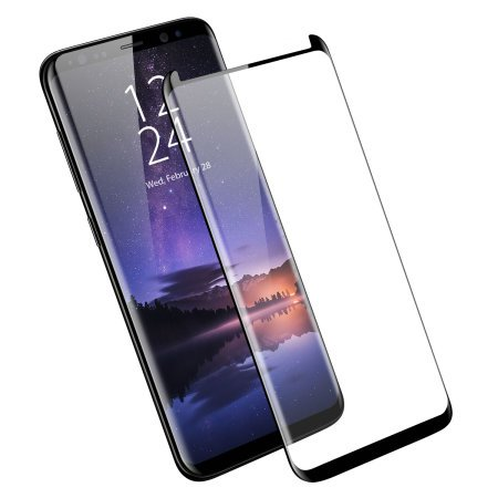 Samsung Galaxy S9 Plus Screen Protector - Case Friendly/Cover Compatible - Tempered Glass - Olixar - 9H Hardness, Anti Scratch, Bubble Free, Anti Fingerprint - Black by Olixar