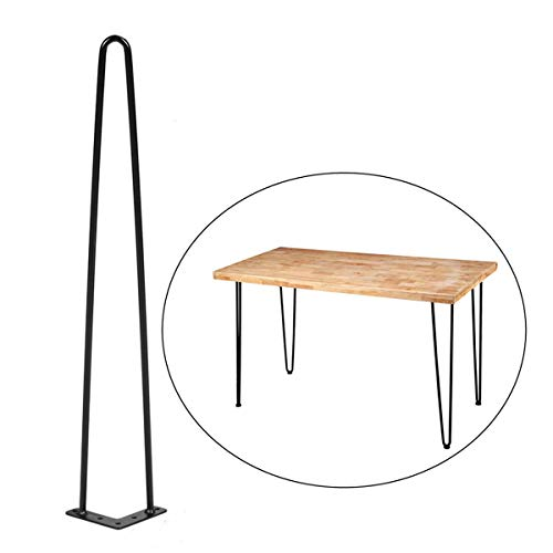 Pine Leg Table (Sumerflos Home Office Desk Workbench Legs- 28'' Heavy Duty Hairpin Legs for 47'' Pine Wood Table Top with Pre-drilled Holes, Easy Assembly (Table Legs Only, Set of 4))