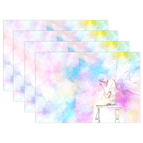 - YPink Fairy Girl Wings Bench Art Abstract Watercolor 3585887 Placemats Set of 4 Heat Insulation Stain Resistant for Dining Table Durable Non-Slip Kitchen Table Place Mats