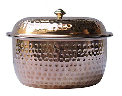 PURE COPPER AND STAINLESS STEEL CASSEROLE POT WITH LID FOR SERVING PURPOSE ES-01 ()