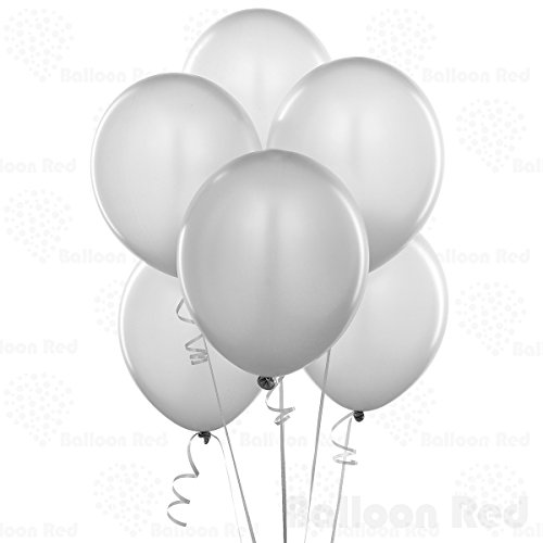 12 Inch Pearlized Latex Balloons (Premium Helium Quality), Pack of 72, Metallic Silver (Blue Silver And White Balloons)