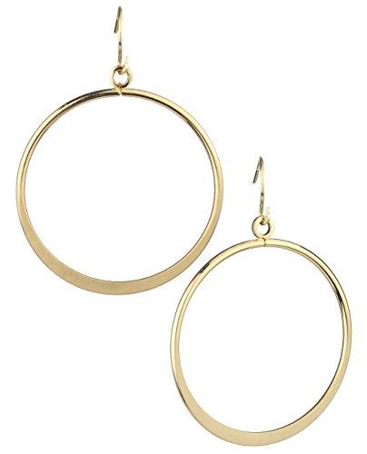 Satin Pierced Earrings - Women's Geometric Round Flat Hoop Dangle Pierced Earrings, Satin Gold-Tone