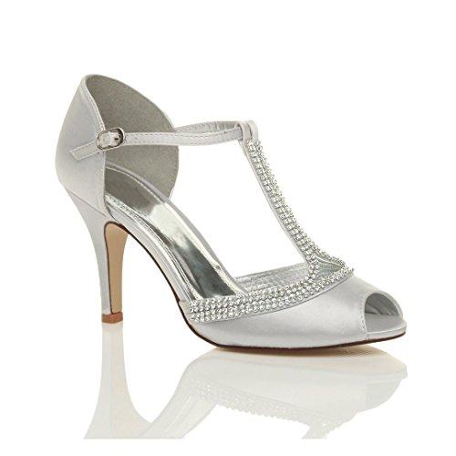 Sandals Women Silver Heel High Bar Shoes T Ajvani Size nXaUOHU