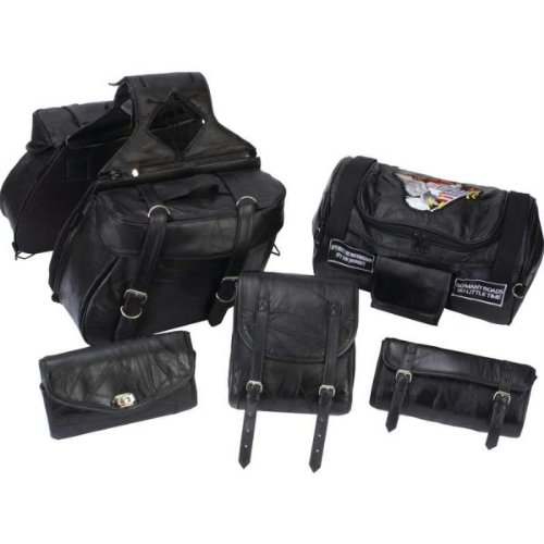 - Diamond Plate 6pc Rock Design Genuine Buffalo Leather Motorcycle Luggage Set- Lea