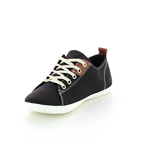 Zapatillas bajas piel sintética, cierre con cordones. Negro - negro