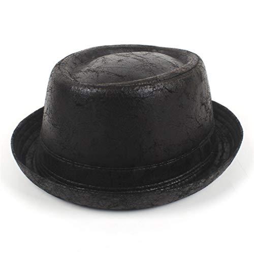 Pie Felt Fur Pork (Vintage Leather Pork Pie Fedora Hat Men Boater Flat Top Hat for Gentleman Bowler Black)