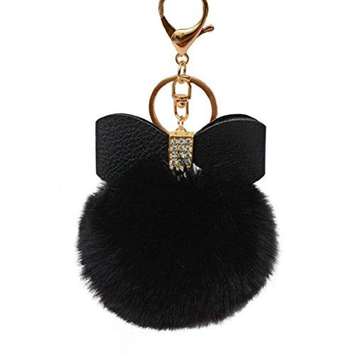 Ikevan 2017 New Fashion Cute Fluffy Faux Rabbit Fur Ball Bowknot Charm Car Keychain Handbag Key Ring (Black)
