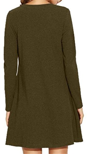 Army Cold Neck Long Cruiize Tunic Round Sleeve Green Womens Shoulder Loose Tops wEtqXqv