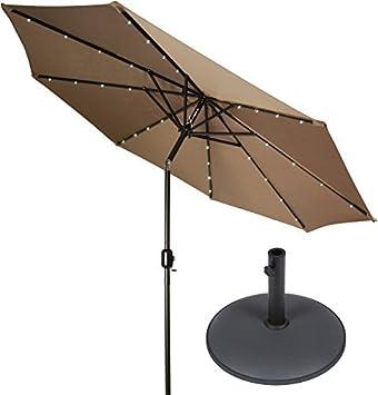 9 Deluxe funciona con energía solar con luz LED Patio paraguas con Gray Base circular