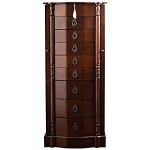 Hives and Honey Robyn Jewelry Armoire, 41″H x 17.25″W x 12.5″D, Walnut