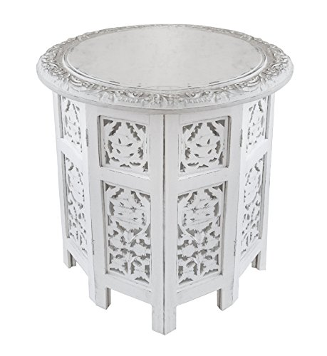 Cotton Craft Jaipur Solid Wood Handcrafted Carved Folding Accent Coffee Table - Antique White - 18 Inch Round Top x 18 Inch High - Top Carved End Table