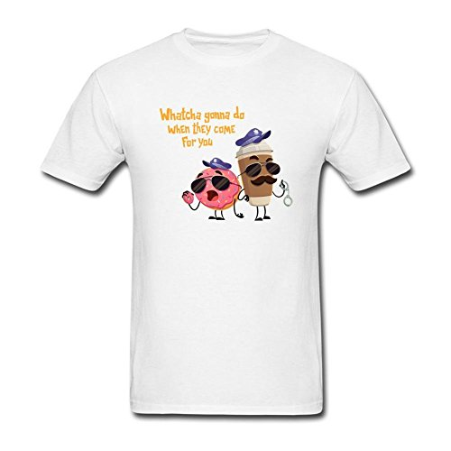 JustLikeSun Men's Cute Pink Donut And Coffee T Shirt -