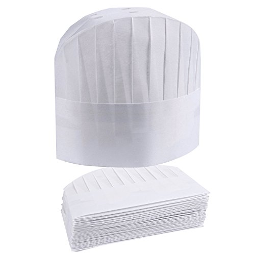 dc1f646eb43 Chef Hats – 24-Pack Disposable White Paper Chef Toques
