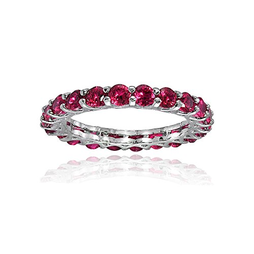 Sterling Silver Created Ruby 3mm Round-cut Eternity Band Ring, Size 10 (Ring Ruby Ice)
