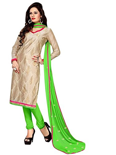 Vibes Women's Cotton Salwar Suit Dress Material – Free Size, Beige and Green