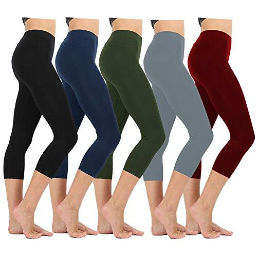 ZOOSIXX High Waisted Capri Leggings for Women - Tummy Control Soft Leggings Opaque Slim (Black,navyblue,Olive,Gray,Burgundy, One Size (US 2-12))