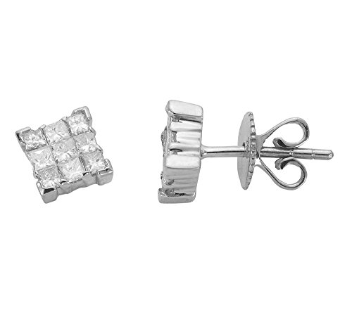 Libertini Boucle d'oreille argent 925 serti de Diamant en forme de Carrés