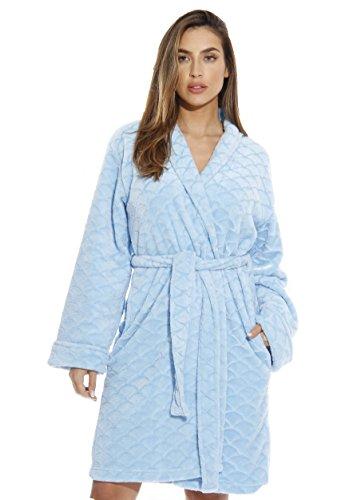 Just Love Kimono - Albornoz de Terciopelo con Textura festoneada para Mujer, Azul Claro, 1X Plus