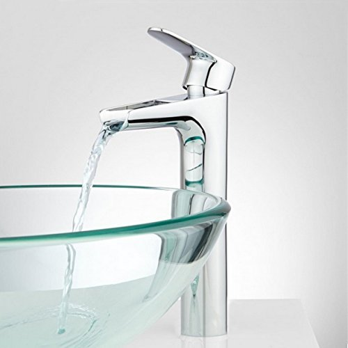 Wovier Chrome Waterfall Bathroom Sink Faucet,Single Handle Single Hole Vessel Lavatory Faucet,Basin Mixer Tap Tall Body by Wovier