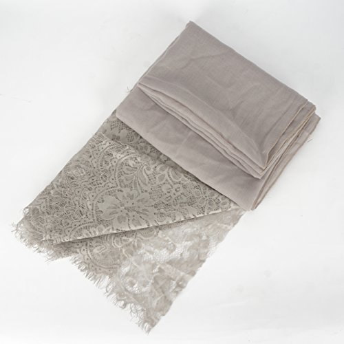 RiscaWin Lady New Fashion Contracted Style Both Ends Floral Lace Soft Scarf Shawl Charcoal