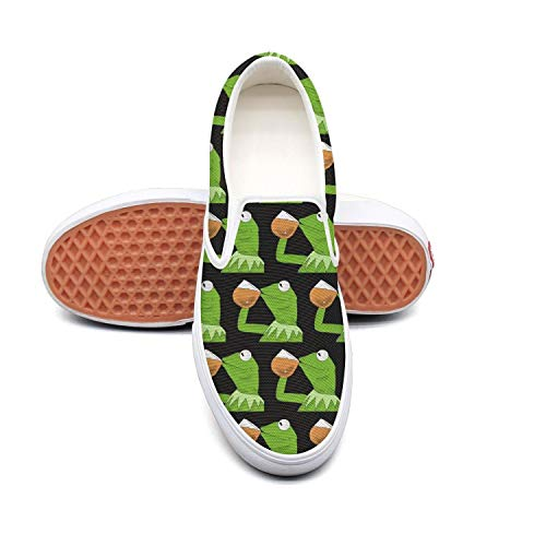 Mens funny green frog sipping tea Beautiful Slip-ons Skateboarding Shoes