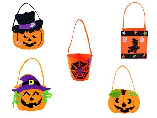 BBKANI 5 Packs Halloween DIY Pumpkin Candy Bag Tote Bucket Basket Halloween Decoration Ornament Props Party Festival Children Gift Bags,Halloween Goodie Bags, Bucket Decoration, Candy Pails
