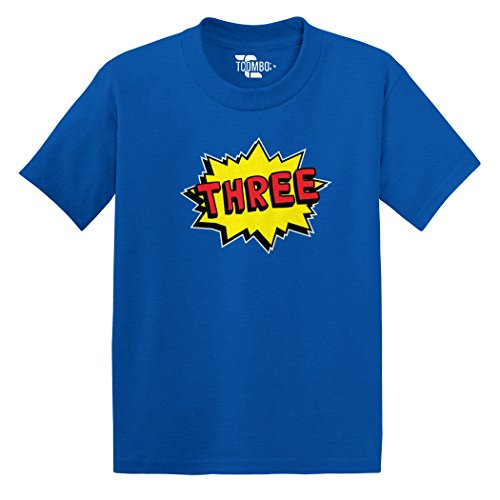 Tcombo Three Superhero - Third 3RD Birthday, Anniversary - Toddler Little Boy/Infant T-shirt (3T, Royal Blue)