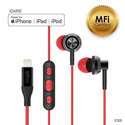 iDARS Lightning Headphone Earbud Earphone Apple MFi Certified in-Ear Wired Headsets with Mic and Remote for iPhone X/XS/XS Max/XR/ 8/ 8Plus/ 7/ 7Plus, iPad Pro/Air/Mini, iPod (Red) ()