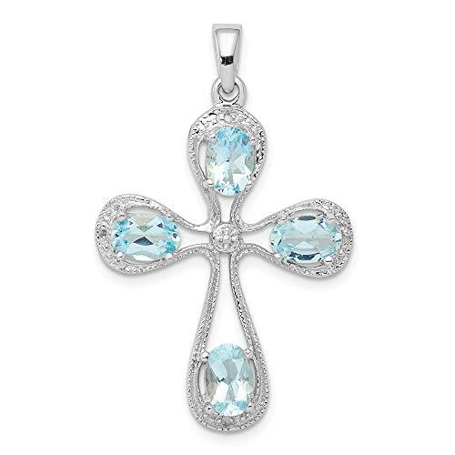 - Mia Diamonds 925 Sterling Silver Solid (0.01cttw) Rhodium Aqua and Diamond Cross Pendant (34mm x 22mm)