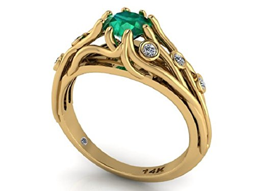 """Natural Emerald and diamonds Engagement Ring, Diamond Bridal Rings, 14k Yellow Solid Gold Vein Ring, One Of A Kind Unique Ring, """"I've Got You Under My Skin"""" ring."""