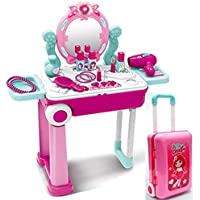 Girl pretend toy suitcase kids makeup dressing table with mirror play house toys