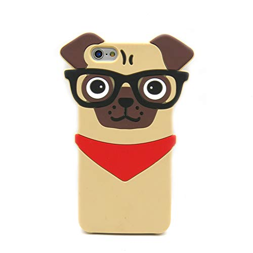 Iphone 6 Case, Iphone 6S Case, 3D Cute Cartoon Hipster Pug Dog Silicone Case for Iphone 6 6S Pet Doggie Fashion Protective Cell Phone Cover Boys Girls