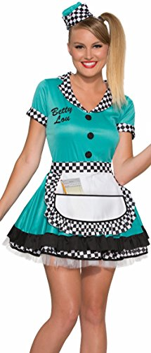 Forum Novelties Women's Betty Lou 50's Diner Waitress Costume, Blue, X-Small/Small -