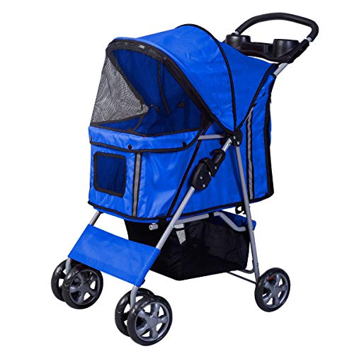 Dog Pushchair Light Weight Stainless Frame pet Travel Carrier Big Wheel with Safety Breaks ()