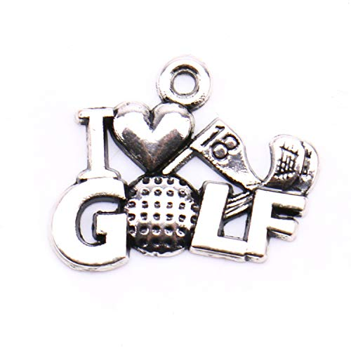 Monrocco 30Pcs Metal Alloy Antique Silver I Love Golf Charms Pendant for Jewelry Making and Crafting