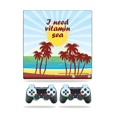 MightySkins Skin for Sony Playstation 3 PS3 Slim + 2 Controllers – Vitamin Sea | Protective, Durable, and Unique Vinyl Decal wrap Cover | Easy to Apply, Remove, and Change Styles | Made in The USA