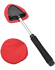 Windshield Cleaner, AutoEC Extendable Handle Window Cleaner Brush Kit,Car Window Windshield Wonder Cleaning Wash Tool Fluid Inside Interior Auto Glass Wiper Includes 2 Washable and Reusable Pads