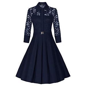Women's Vintage Style 3/4 Sleeve Black Lace Flare A-line Dress