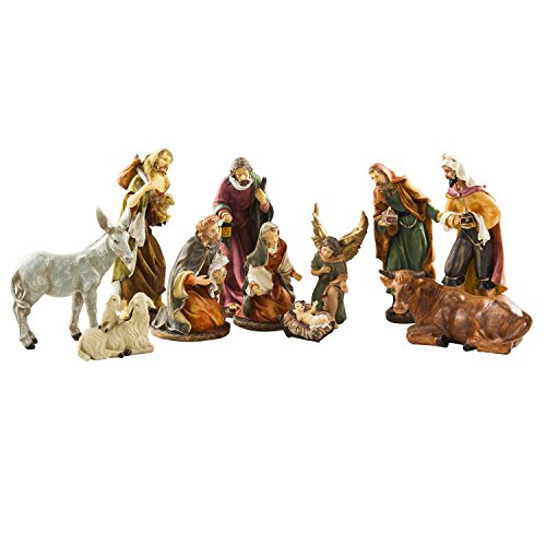 BRUBAKER Christmas Decoration Nativity Set - 8 Inch Nativity Set 11 Figurines in Real Life Nativity - Vintage Scene Nativity
