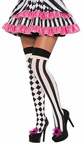 Forum Novelties Adult One Size HarleQuin Thigh High Jester (Women's Jester Halloween Makeup)